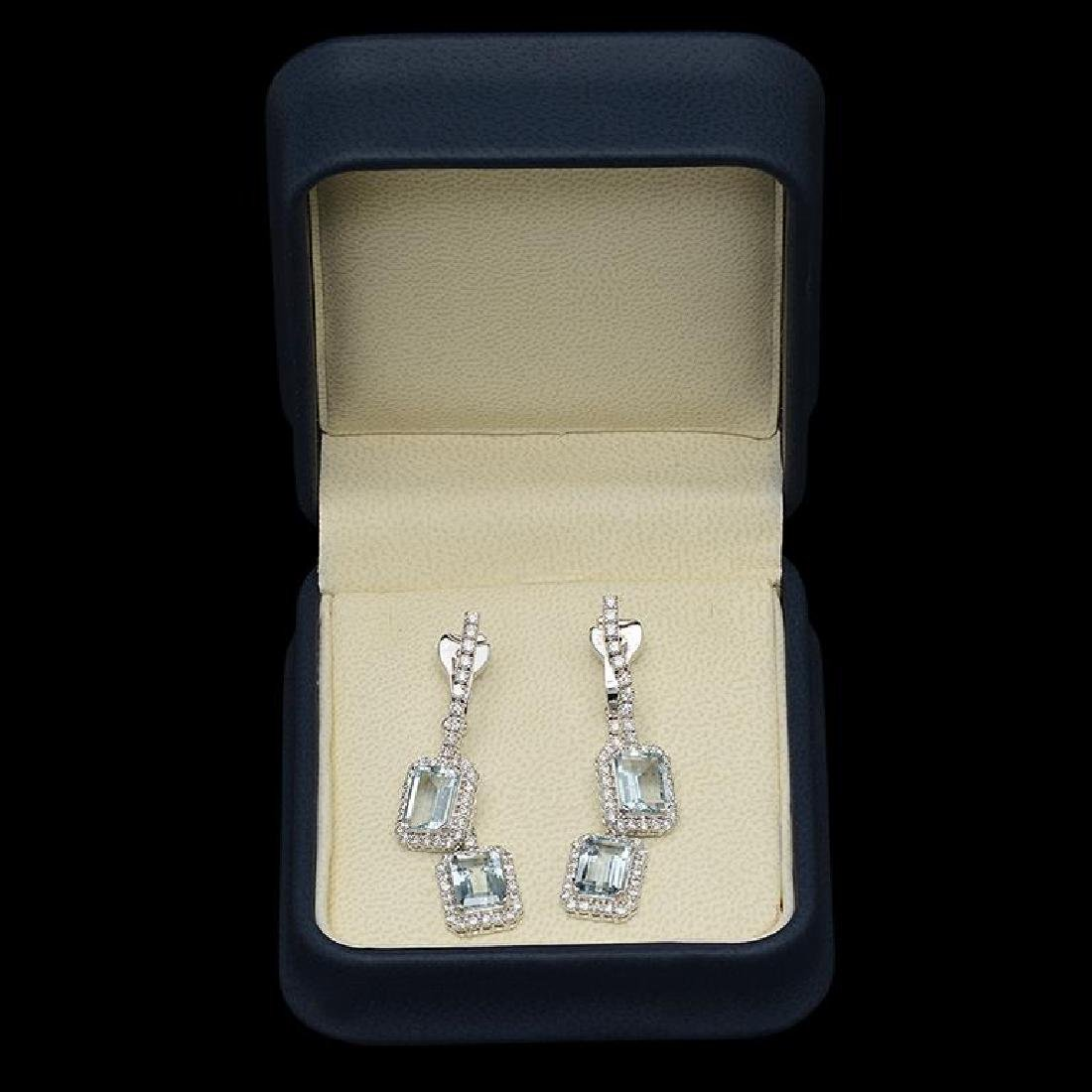 14k Gold 6.70ct Aquamarine & 2.15ct  Diamond Earrings - 2
