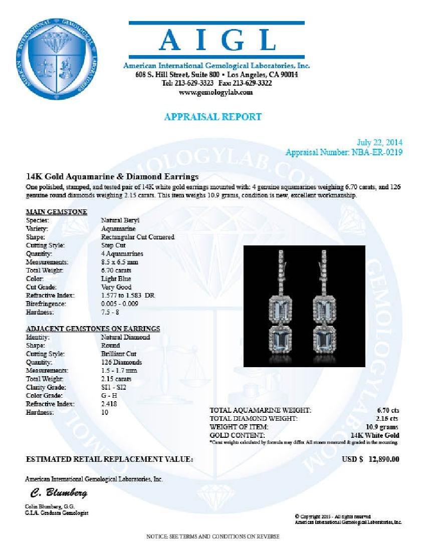 14k Gold 6.70ct Aquamarine & 2.15ct  Diamond Earrings - 3