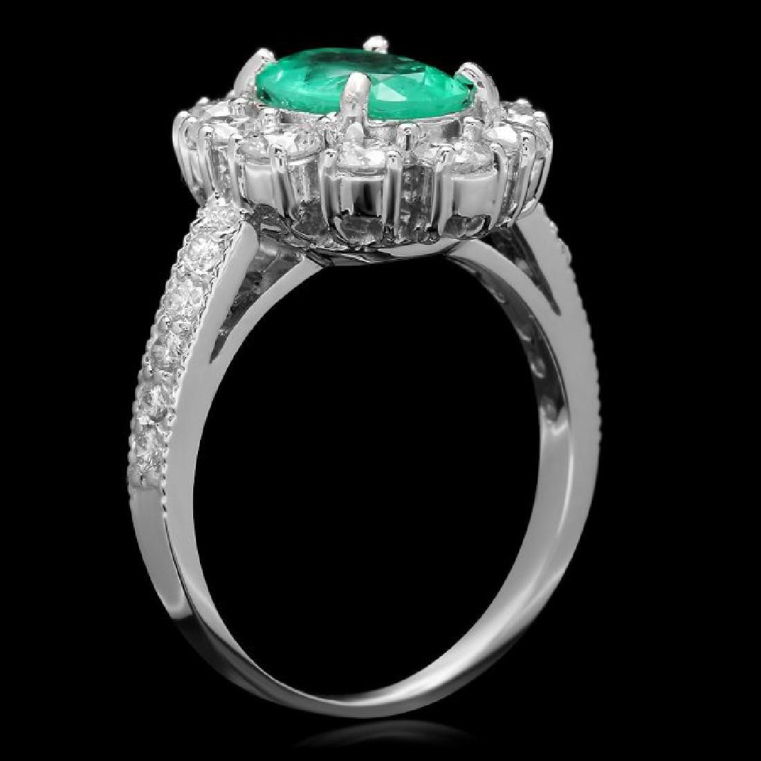 14k White Gold 1.50ct Emerald 1.45ct Diamond Ring - 2