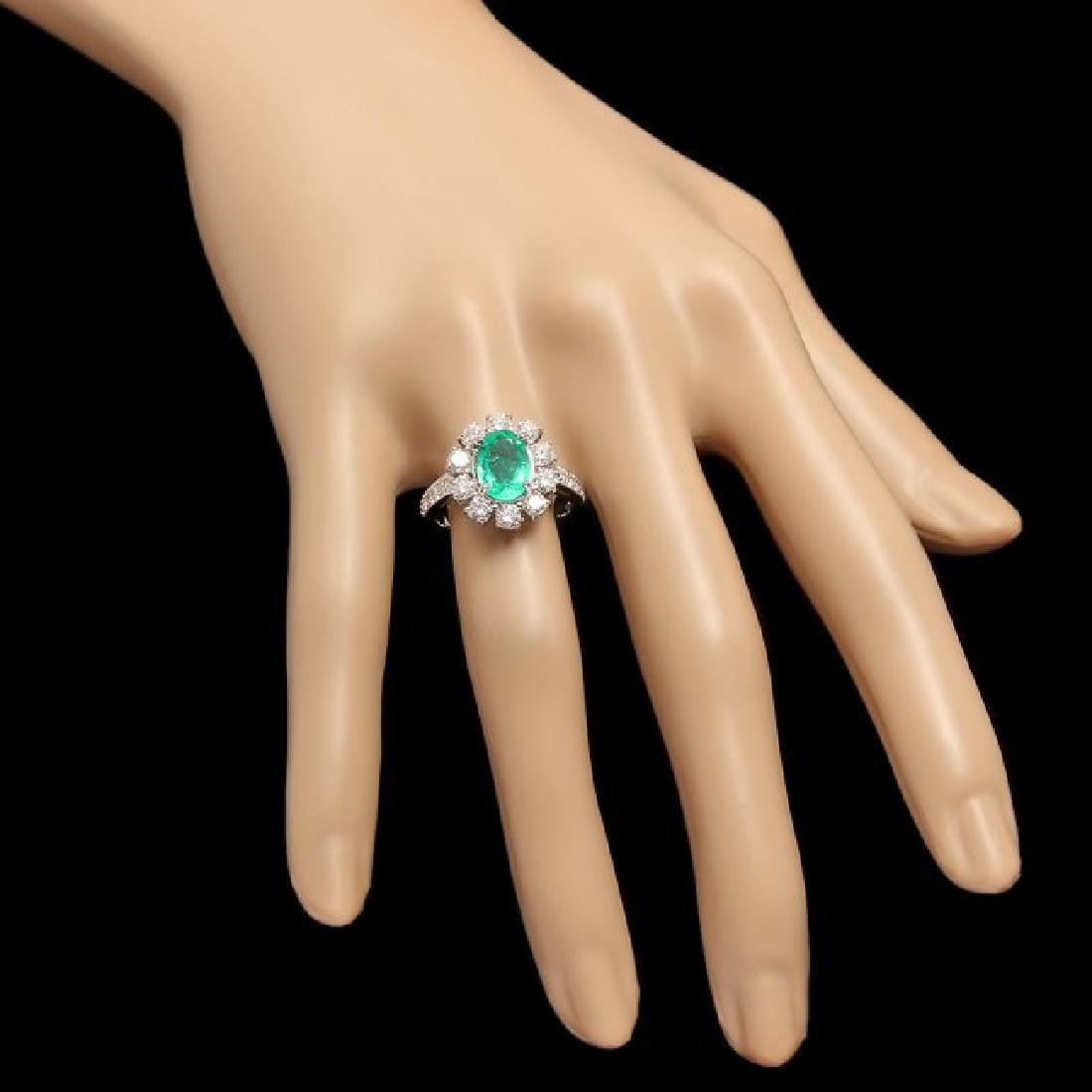 14k White Gold 1.50ct Emerald 1.45ct Diamond Ring - 3