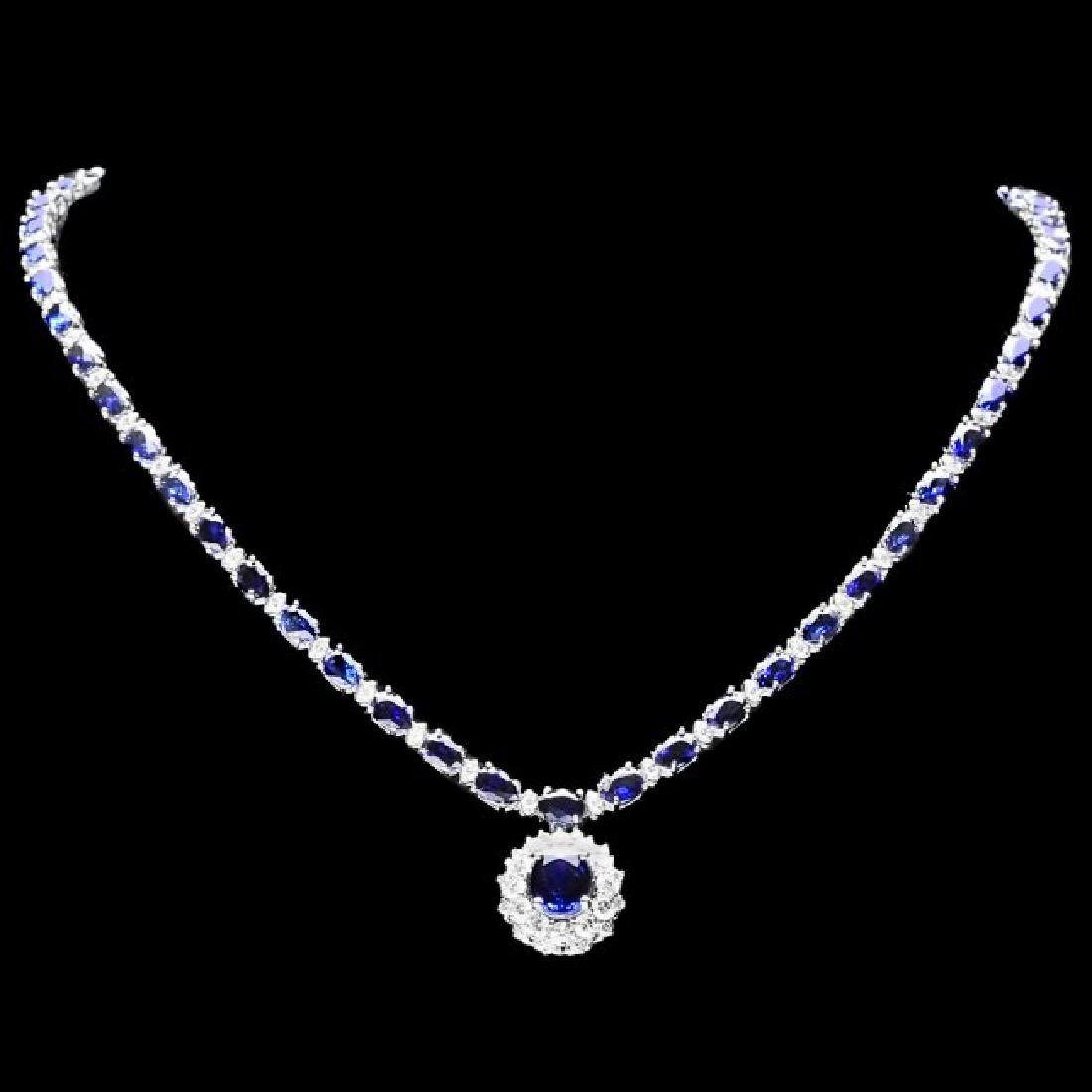 14k Gold 28ct Sapphire 3.35ct Diamond Necklace