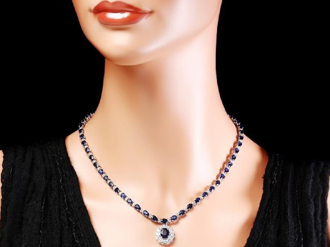14k Gold 28ct Sapphire 3.35ct Diamond Necklace - 5
