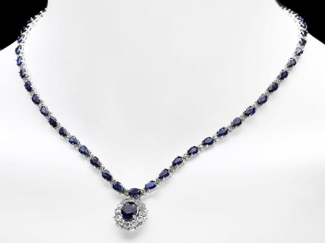 14k Gold 28ct Sapphire 3.35ct Diamond Necklace - 6