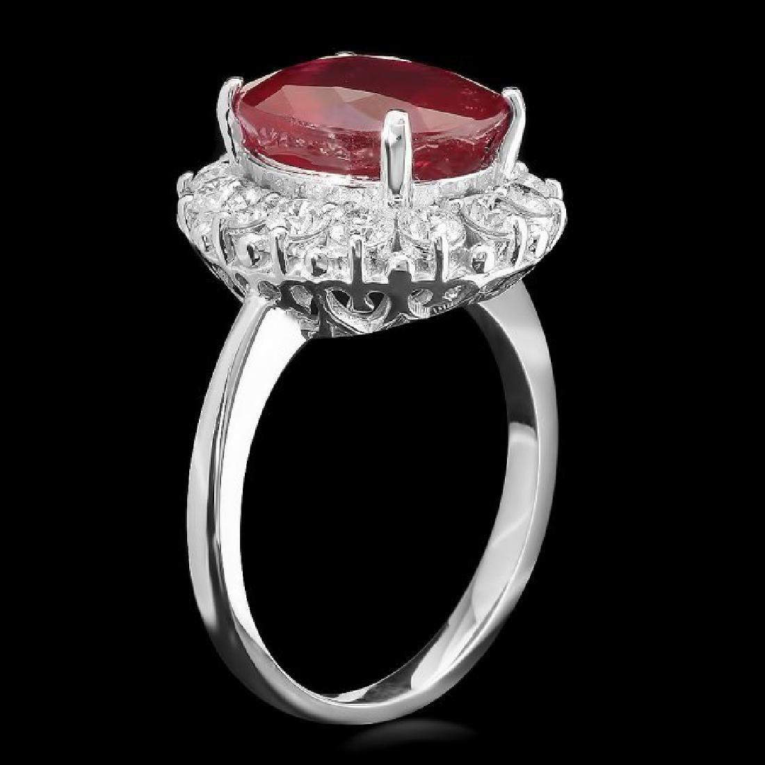 14k White Gold 6.40ct Ruby 1ct Diamond Ring - 2