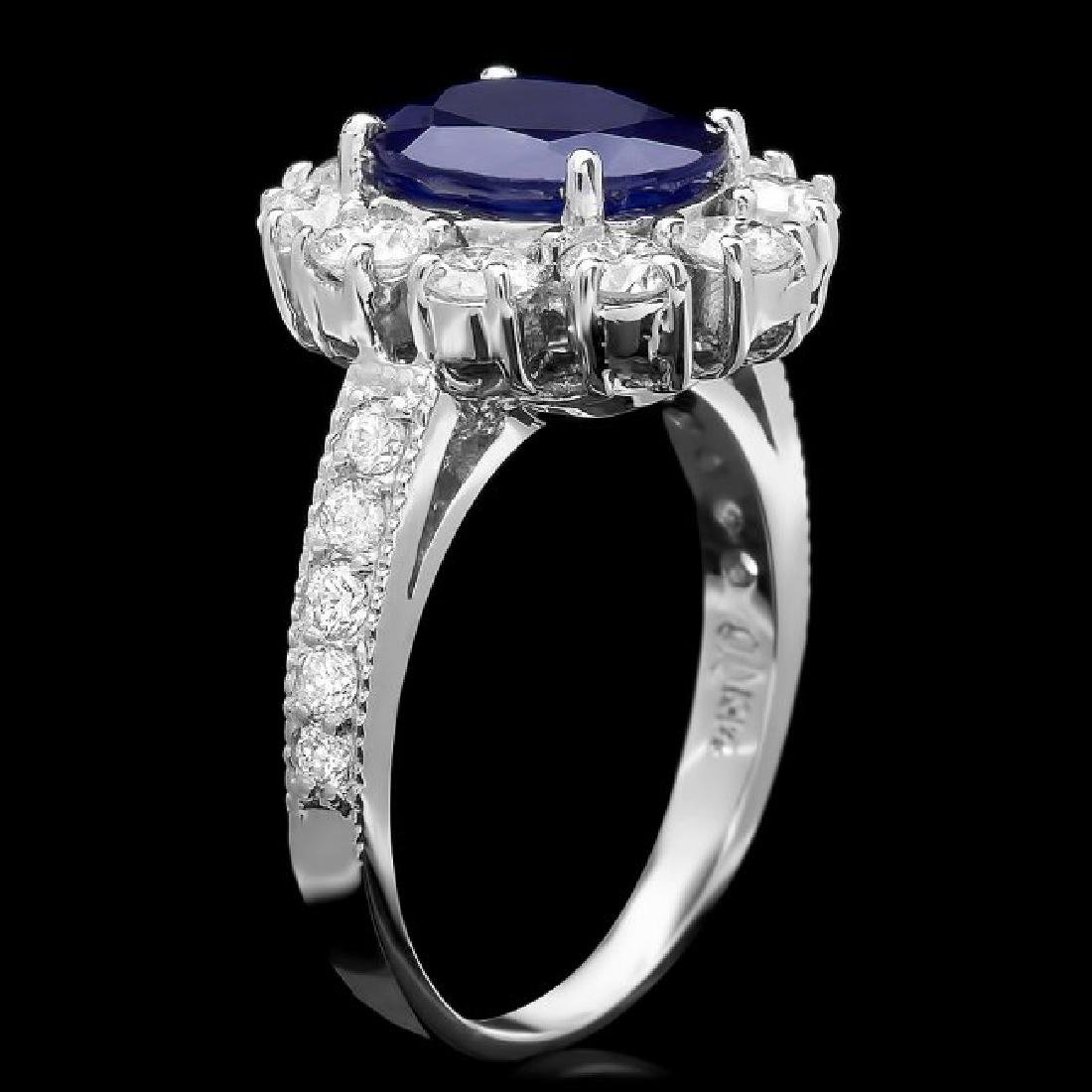 14k White Gold 2.60ct Sapphire 1.5ct Diamond Ring - 2