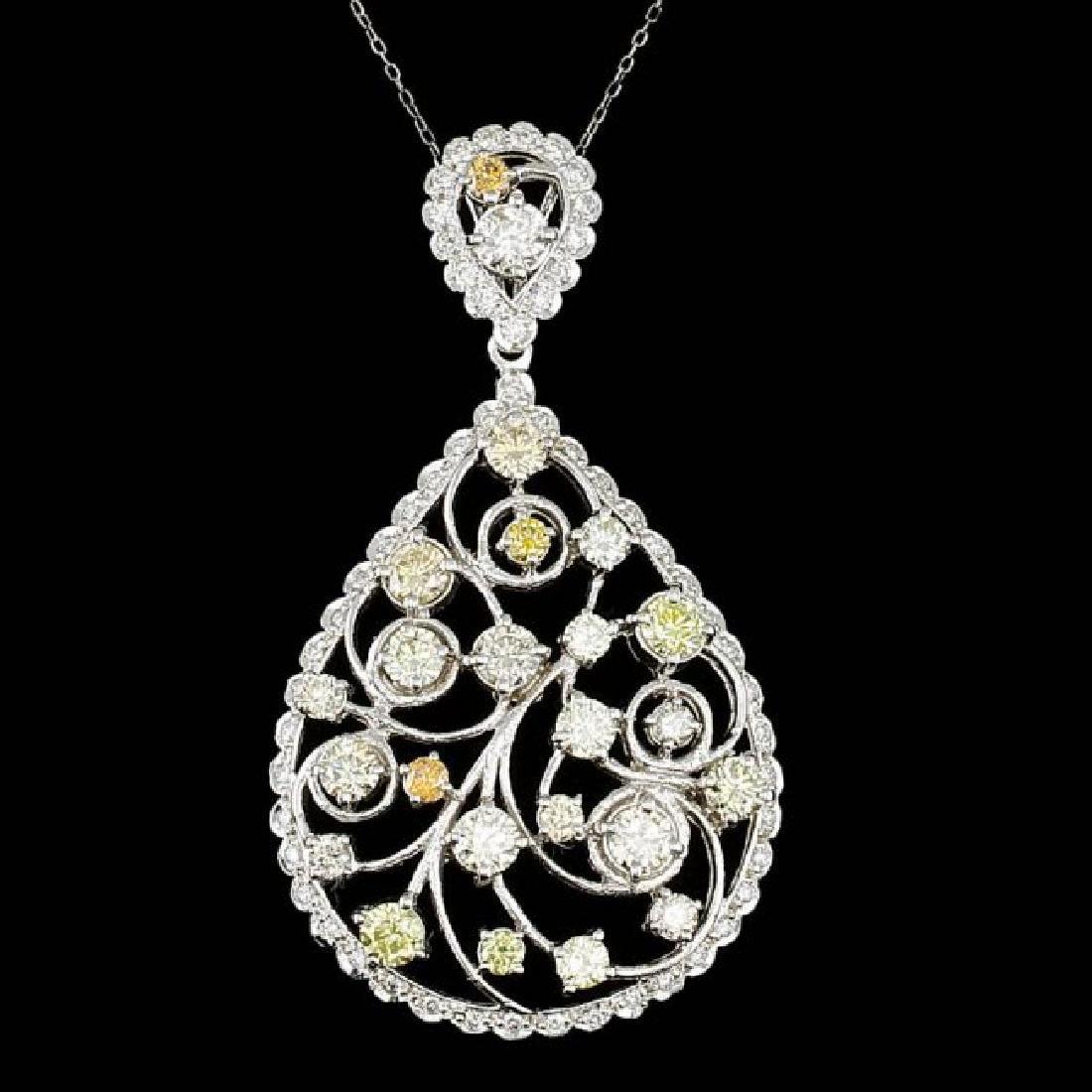14k White Gold 6.85ct Diamond Pendant