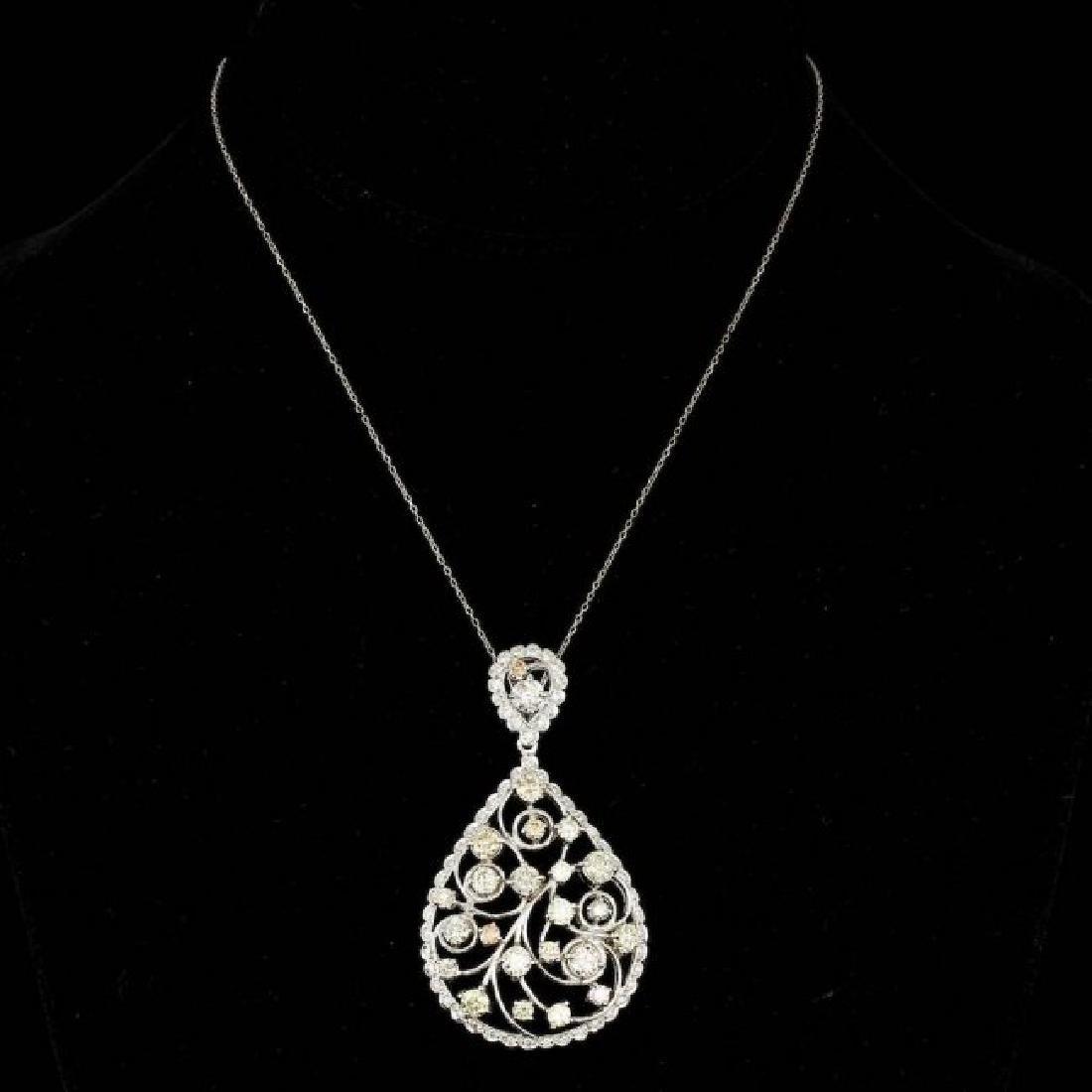 14k White Gold 6.85ct Diamond Pendant - 2