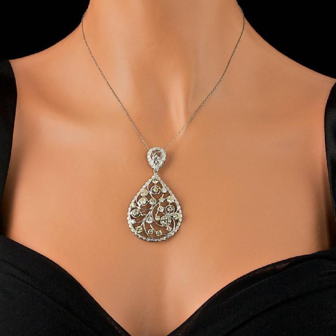 14k White Gold 6.85ct Diamond Pendant - 4