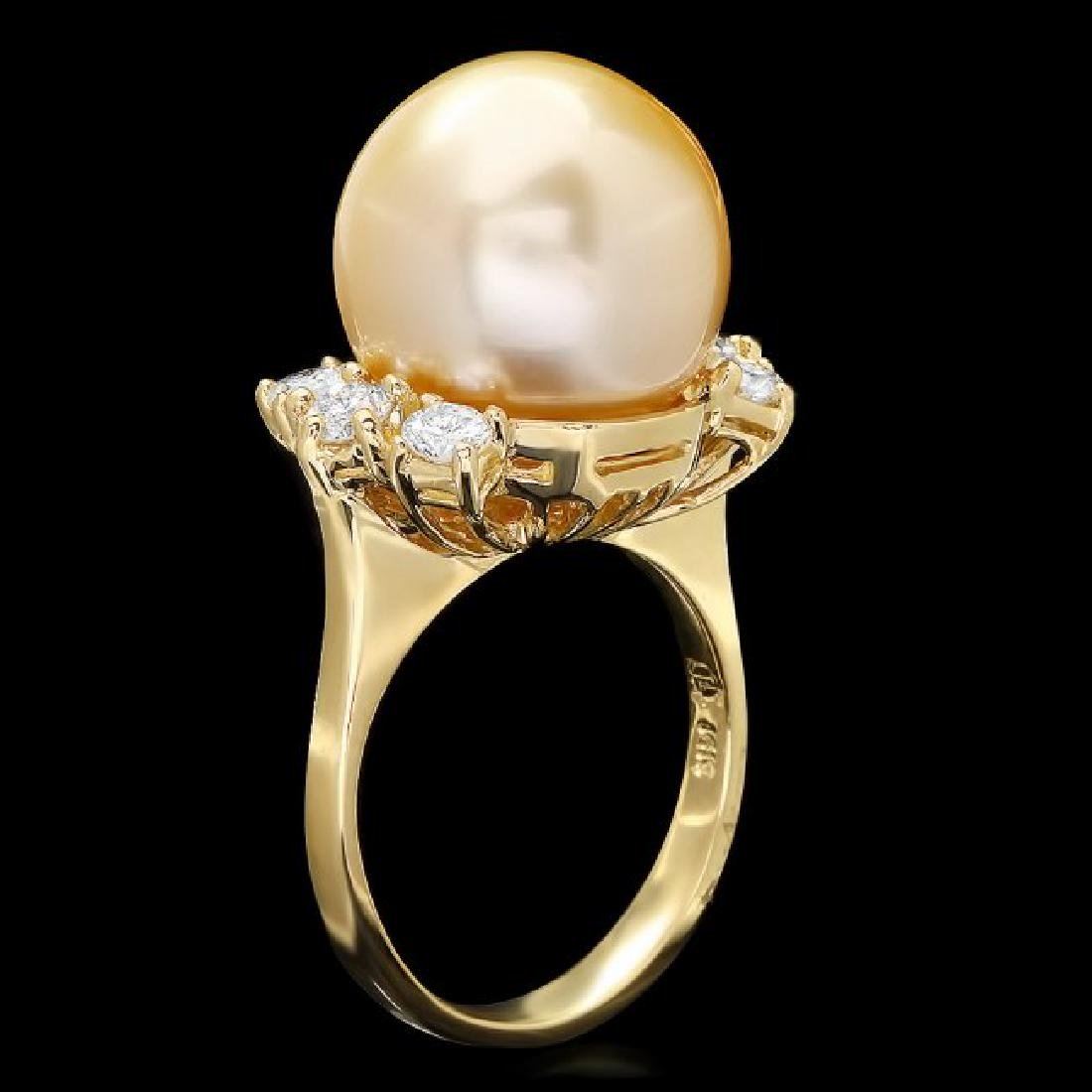 14k Gold 14 X 14mm Pearl 0.80ct Diamond Ring - 2