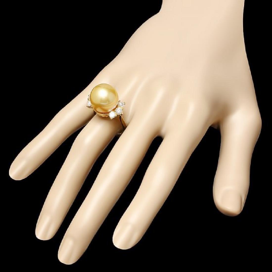 14k Gold 14 X 14mm Pearl 0.80ct Diamond Ring - 3