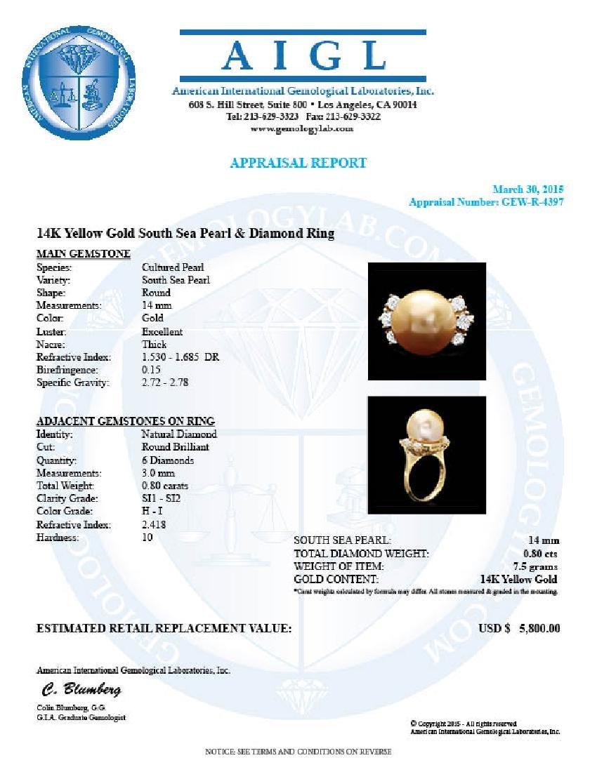 14k Gold 14 X 14mm Pearl 0.80ct Diamond Ring - 4