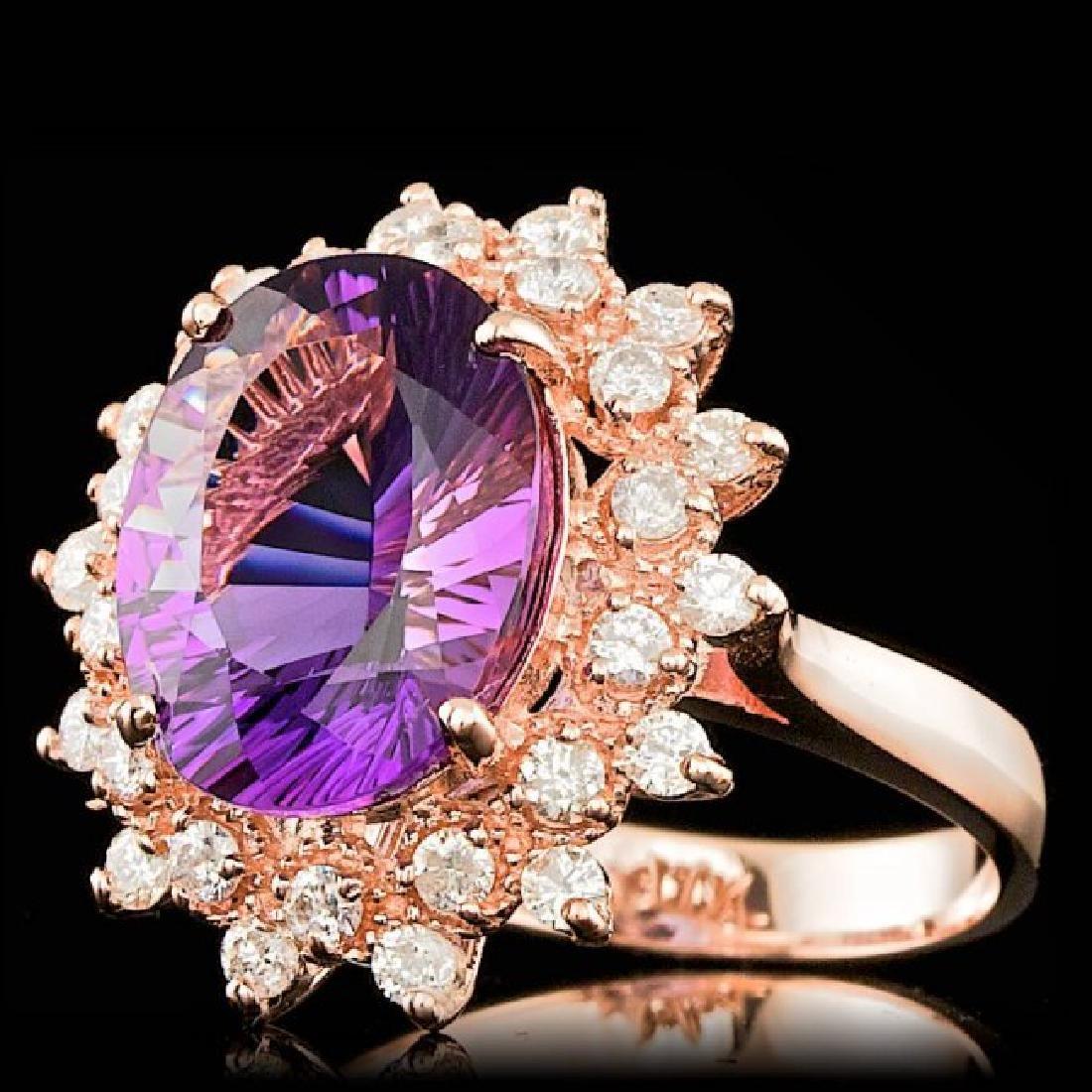 14k Rose Gold 4.50ct Amethyst 0.80ct Diamond Ring - 2