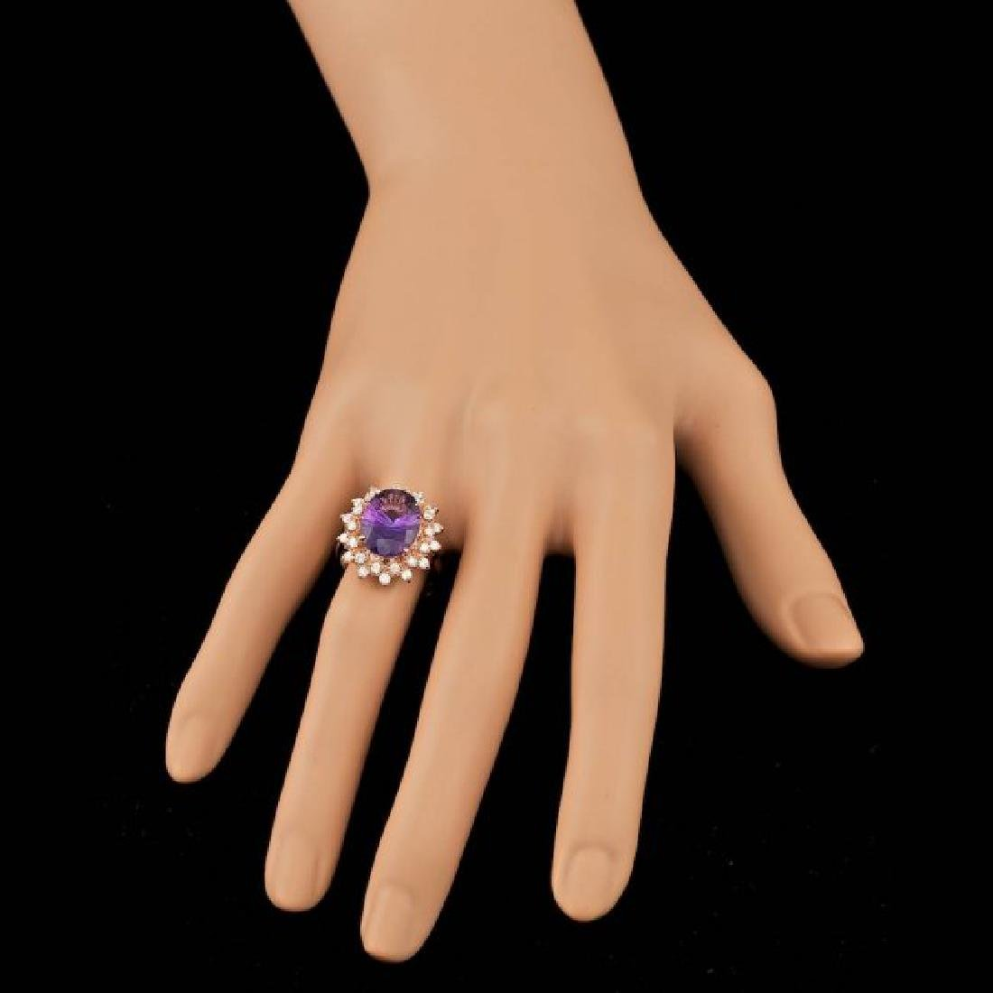 14k Rose Gold 4.50ct Amethyst 0.80ct Diamond Ring - 3