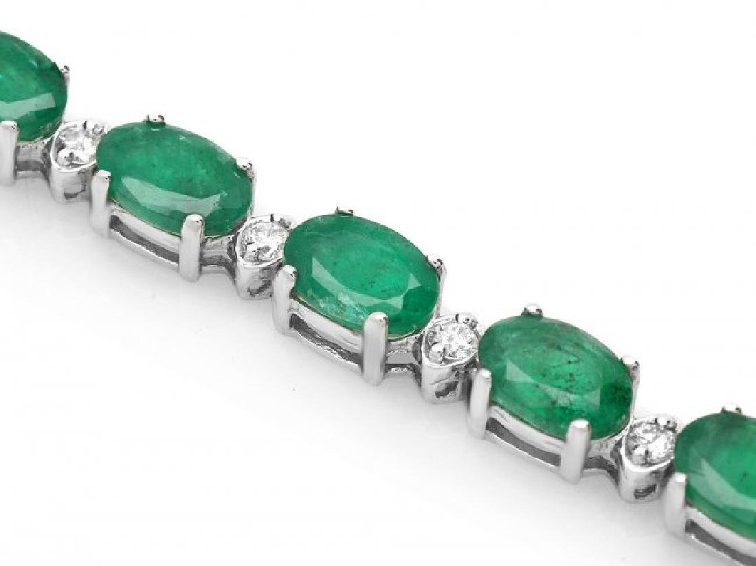 18k Gold 11ct Emerald 0.60ct Diamond Bracelet - 2