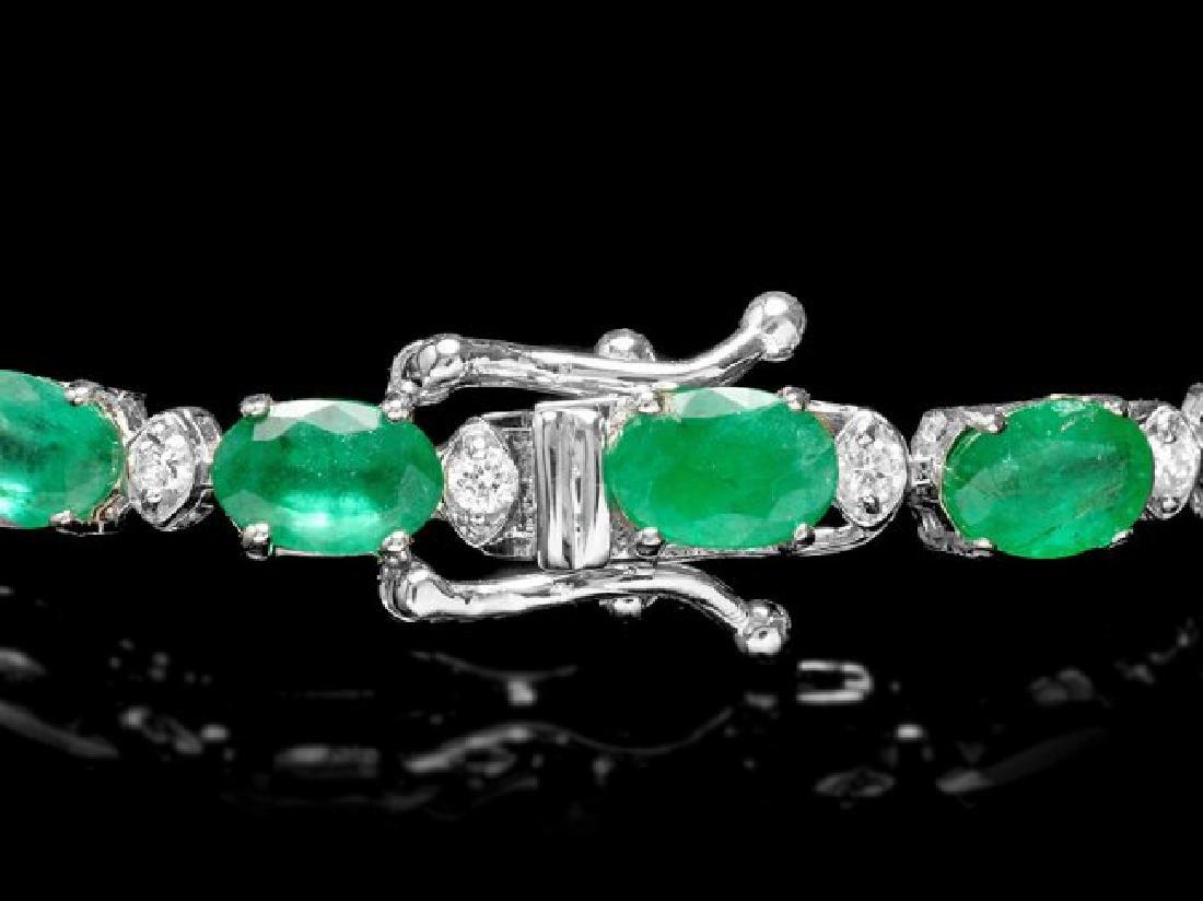 18k Gold 11ct Emerald 0.60ct Diamond Bracelet - 3