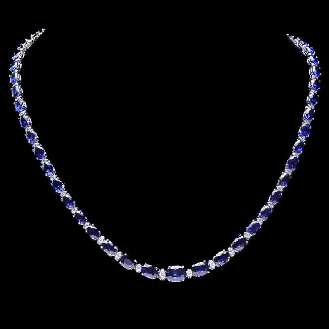 14k Gold 30ct Sapphire 1.10ct Diamond Necklace