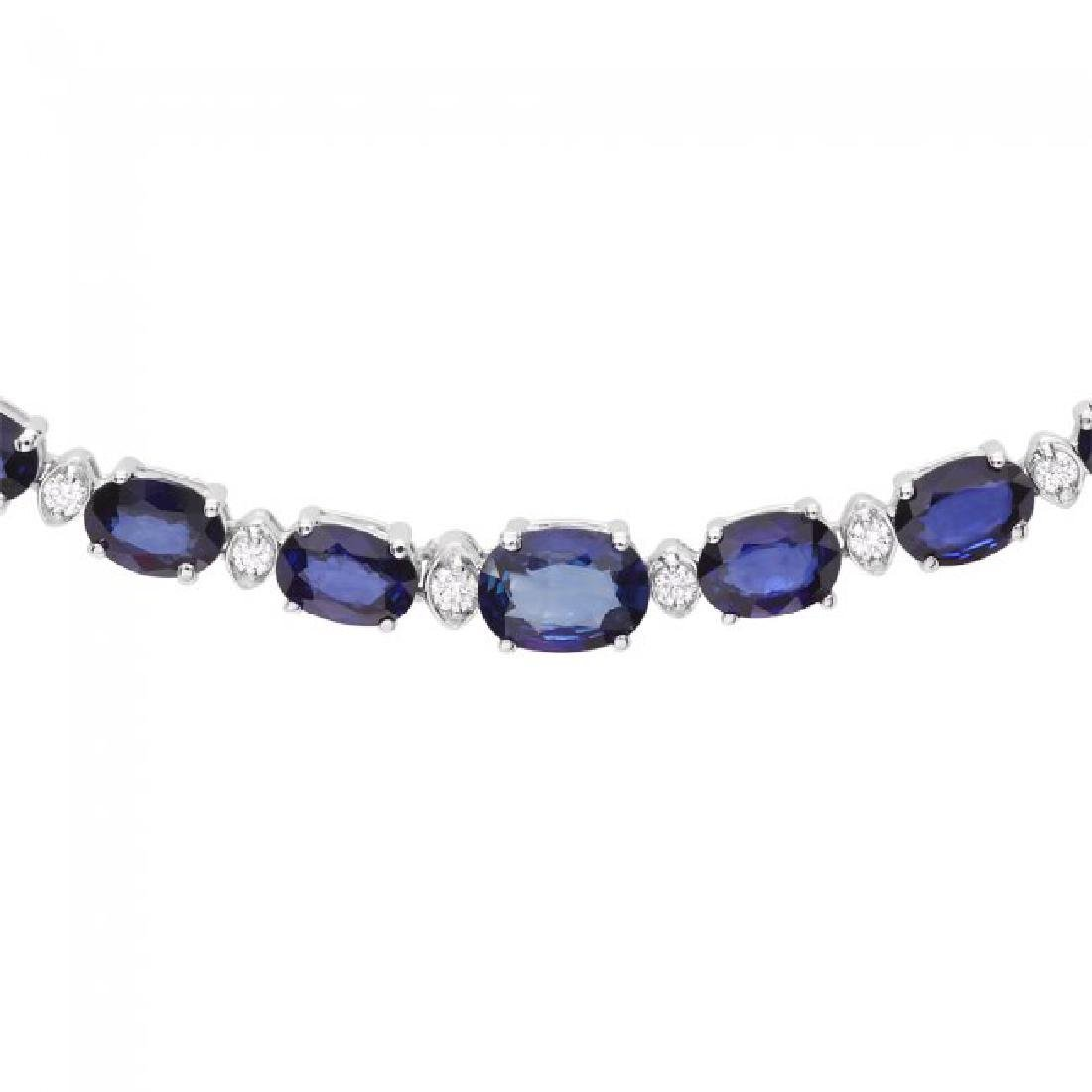 14k Gold 30ct Sapphire 1.10ct Diamond Necklace - 2