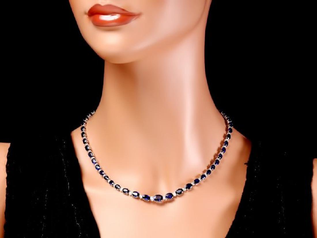 14k Gold 30ct Sapphire 1.10ct Diamond Necklace - 5