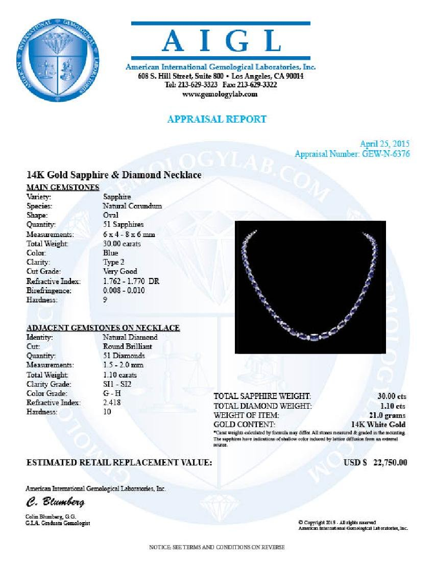 14k Gold 30ct Sapphire 1.10ct Diamond Necklace - 7