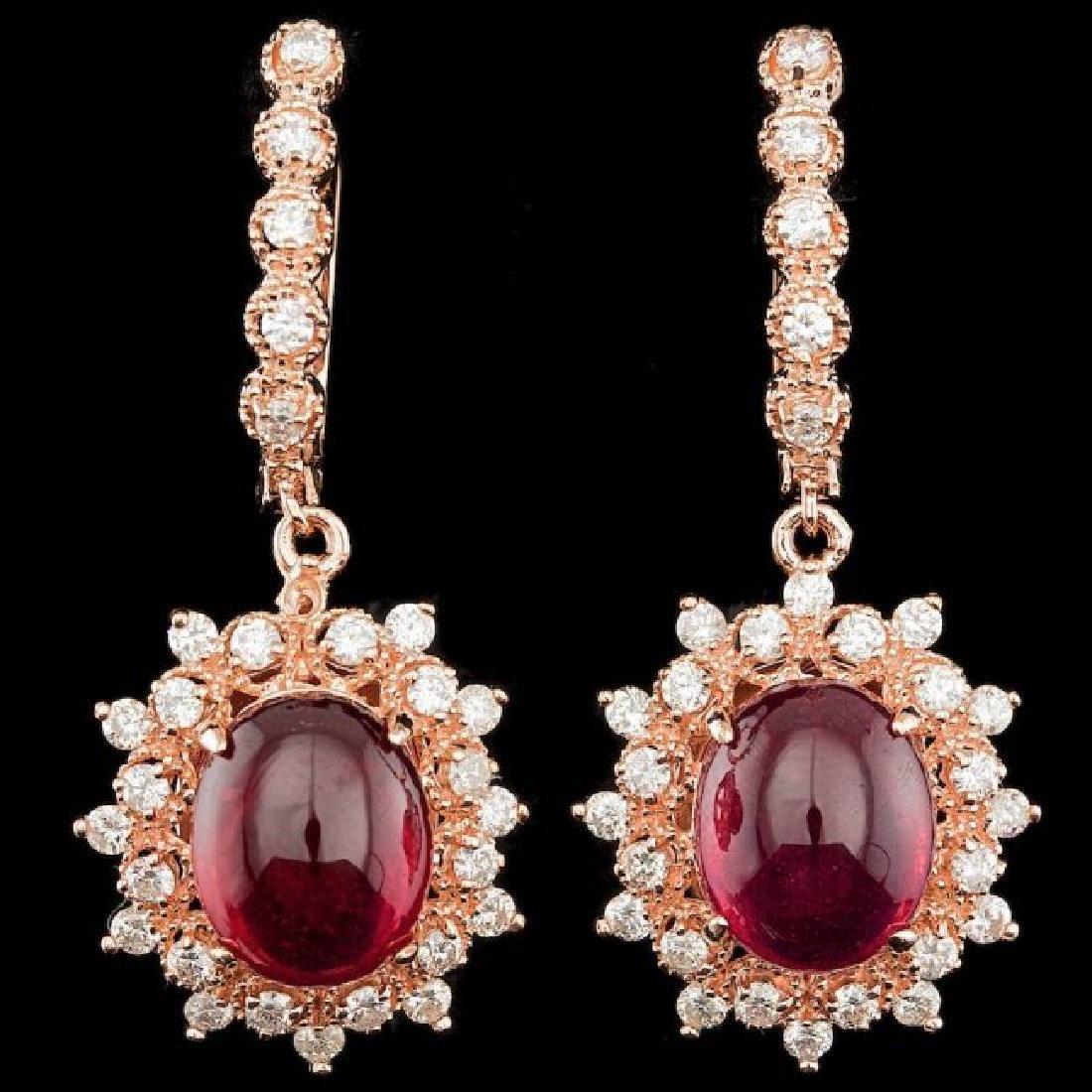 14k Rose 14.00ct Ruby 1.65ct Diamond Earrings