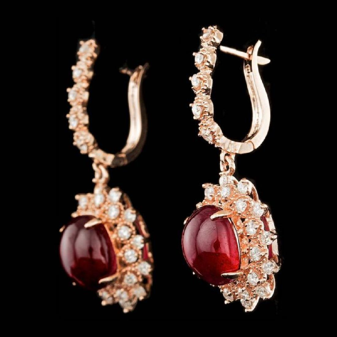 14k Rose 14.00ct Ruby 1.65ct Diamond Earrings - 2