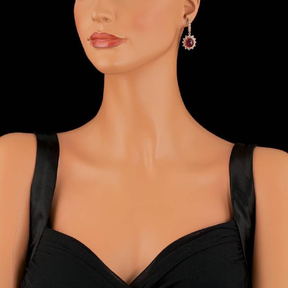 14k Rose 14.00ct Ruby 1.65ct Diamond Earrings - 3