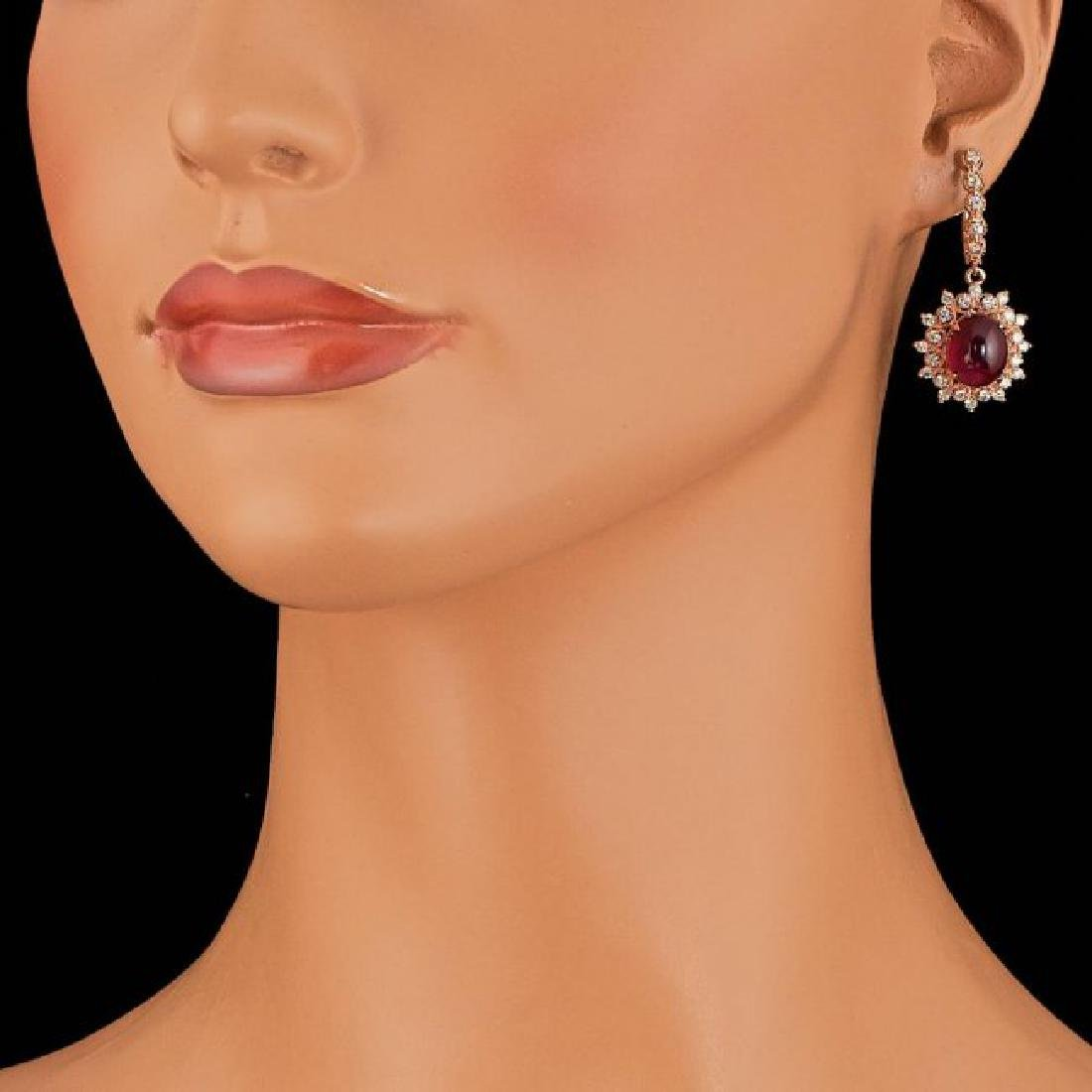 14k Rose 14.00ct Ruby 1.65ct Diamond Earrings - 4