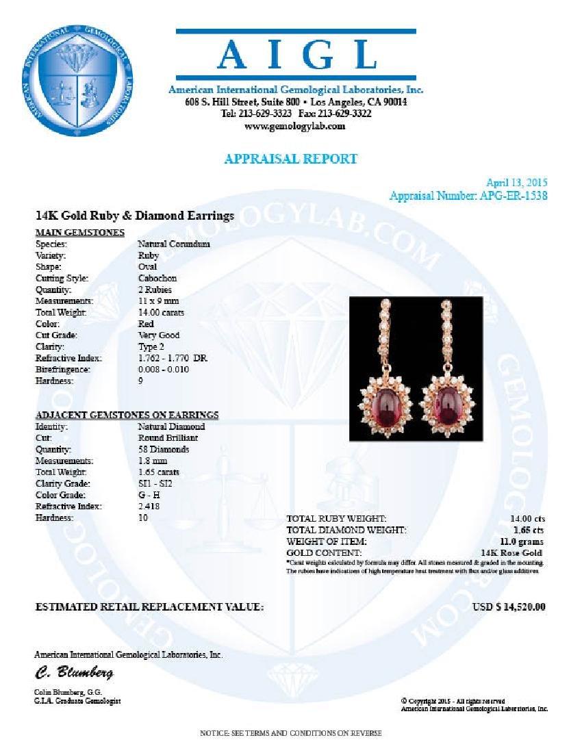 14k Rose 14.00ct Ruby 1.65ct Diamond Earrings - 5