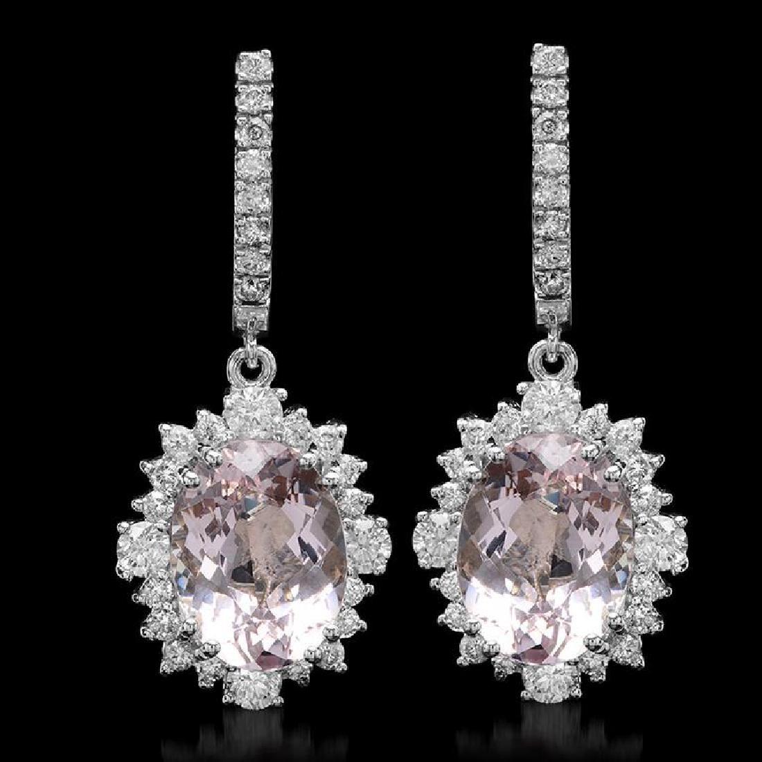 14K Gold 10.66ct Morganite 2.35ct Diamond Earrings