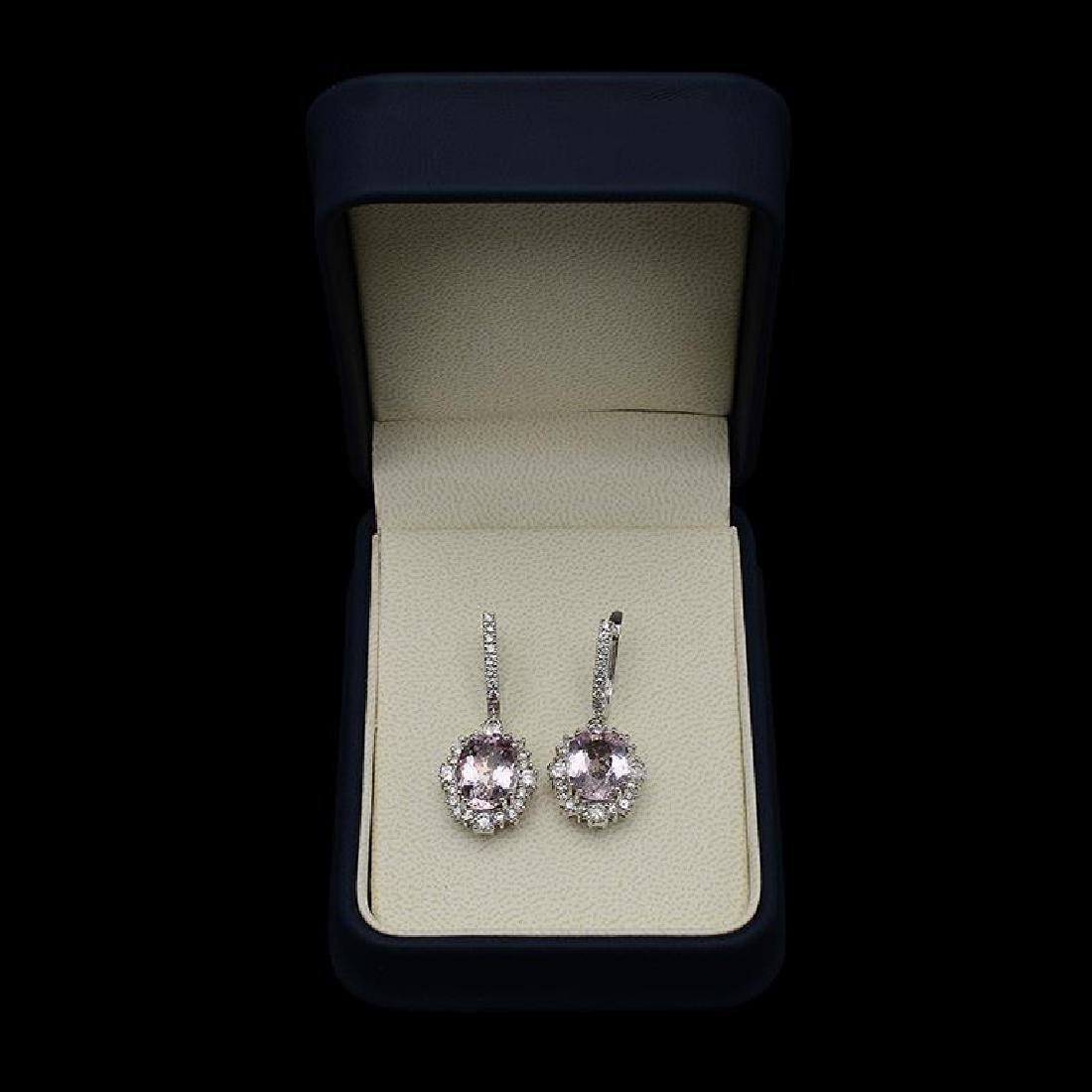 14K Gold 10.66ct Morganite 2.35ct Diamond Earrings - 2