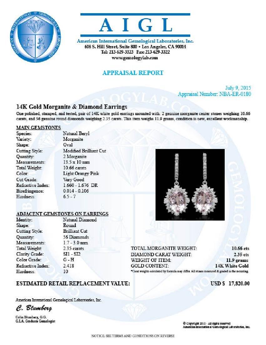 14K Gold 10.66ct Morganite 2.35ct Diamond Earrings - 3