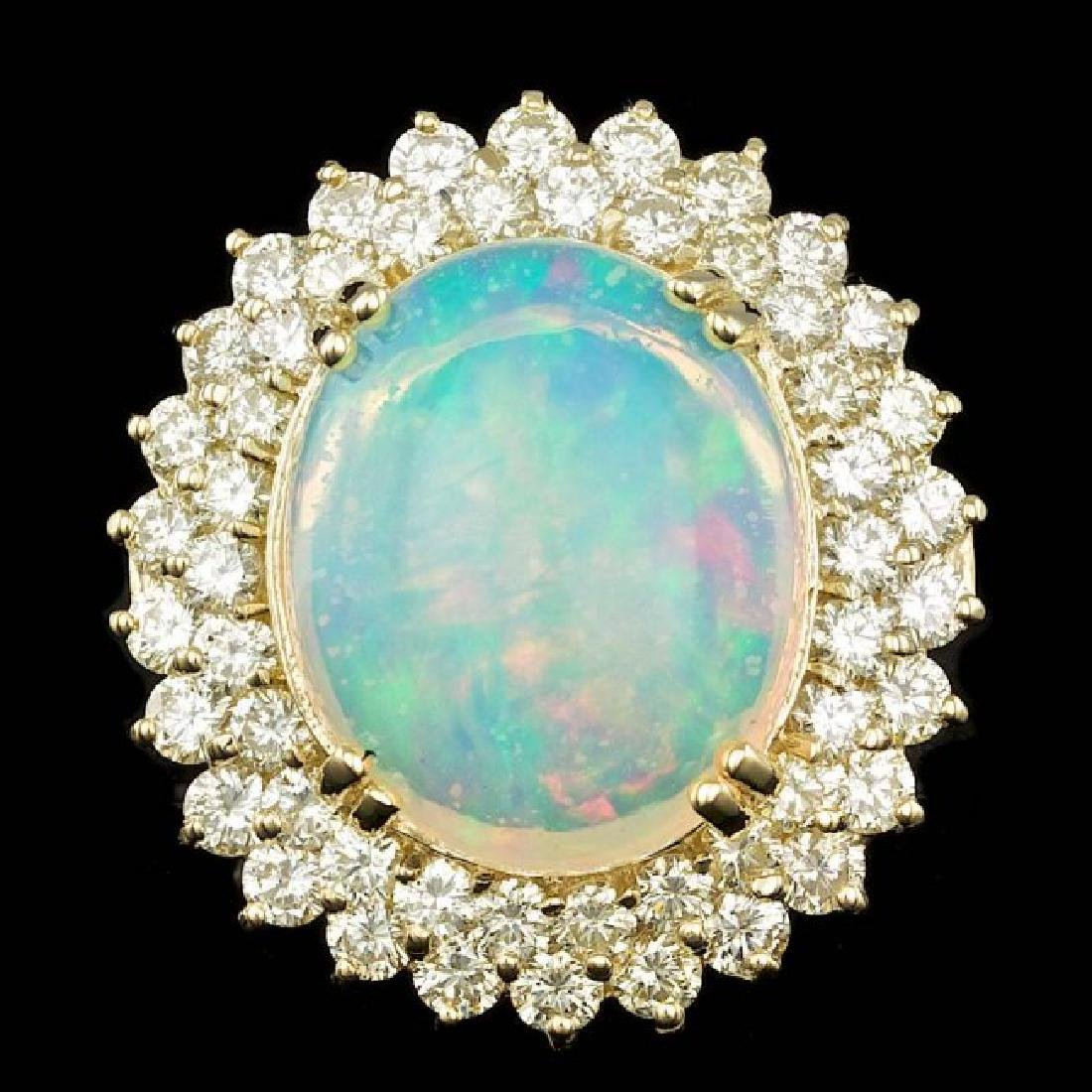 14k Yellow Gold 9.00ct Opal 3.15ct Diamond Ring