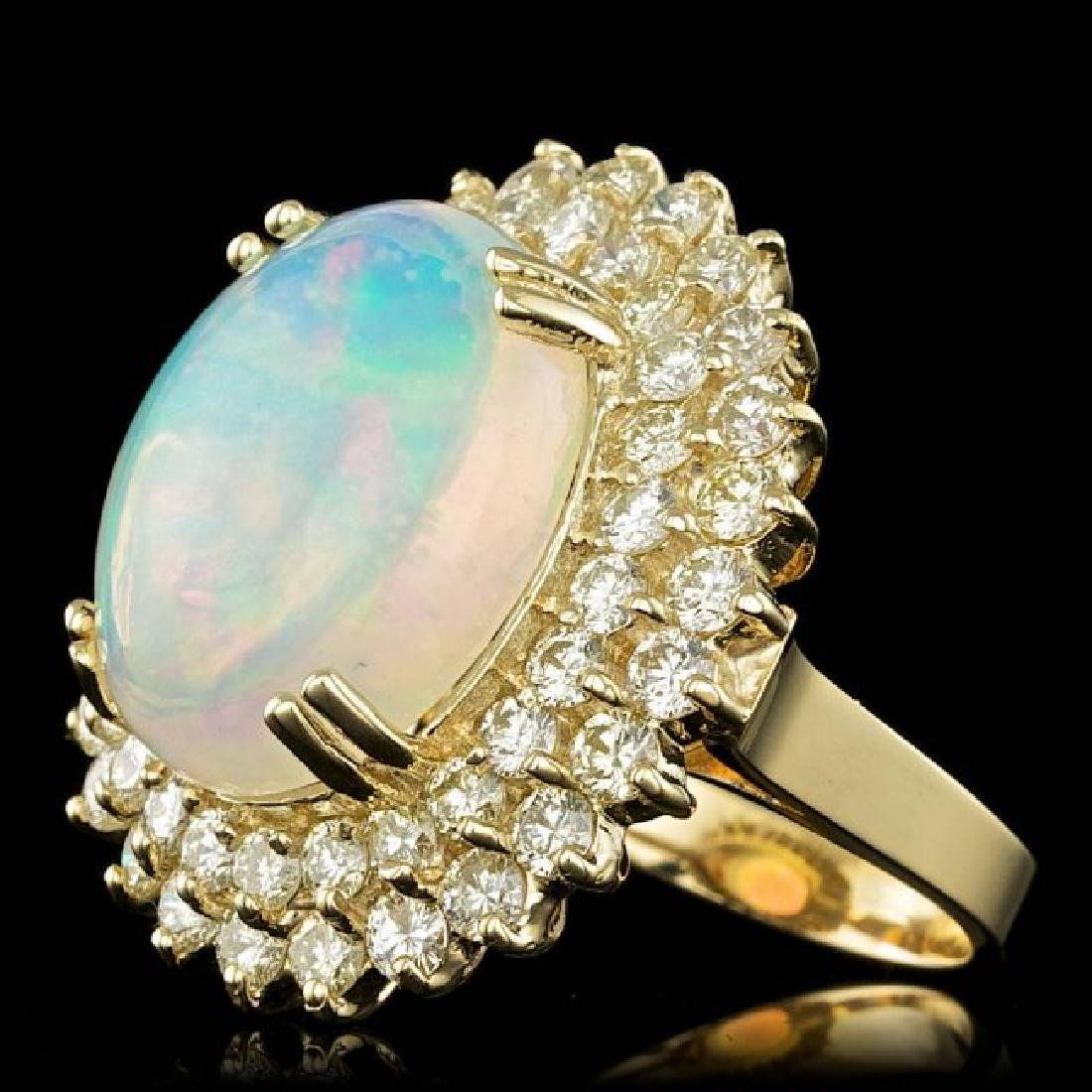 14k Yellow Gold 9.00ct Opal 3.15ct Diamond Ring - 2