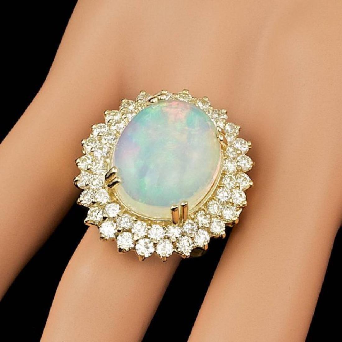 14k Yellow Gold 9.00ct Opal 3.15ct Diamond Ring - 3
