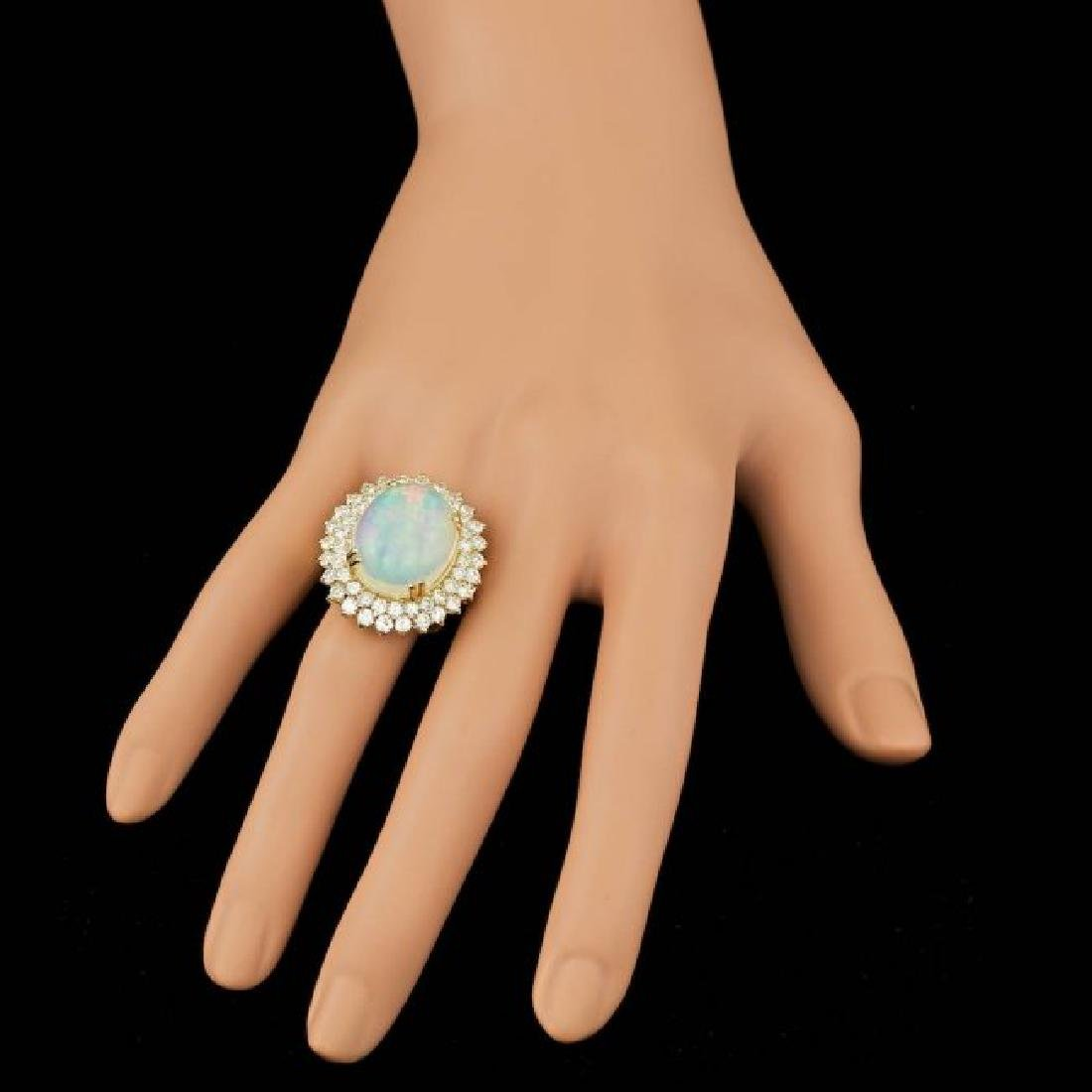 14k Yellow Gold 9.00ct Opal 3.15ct Diamond Ring - 4