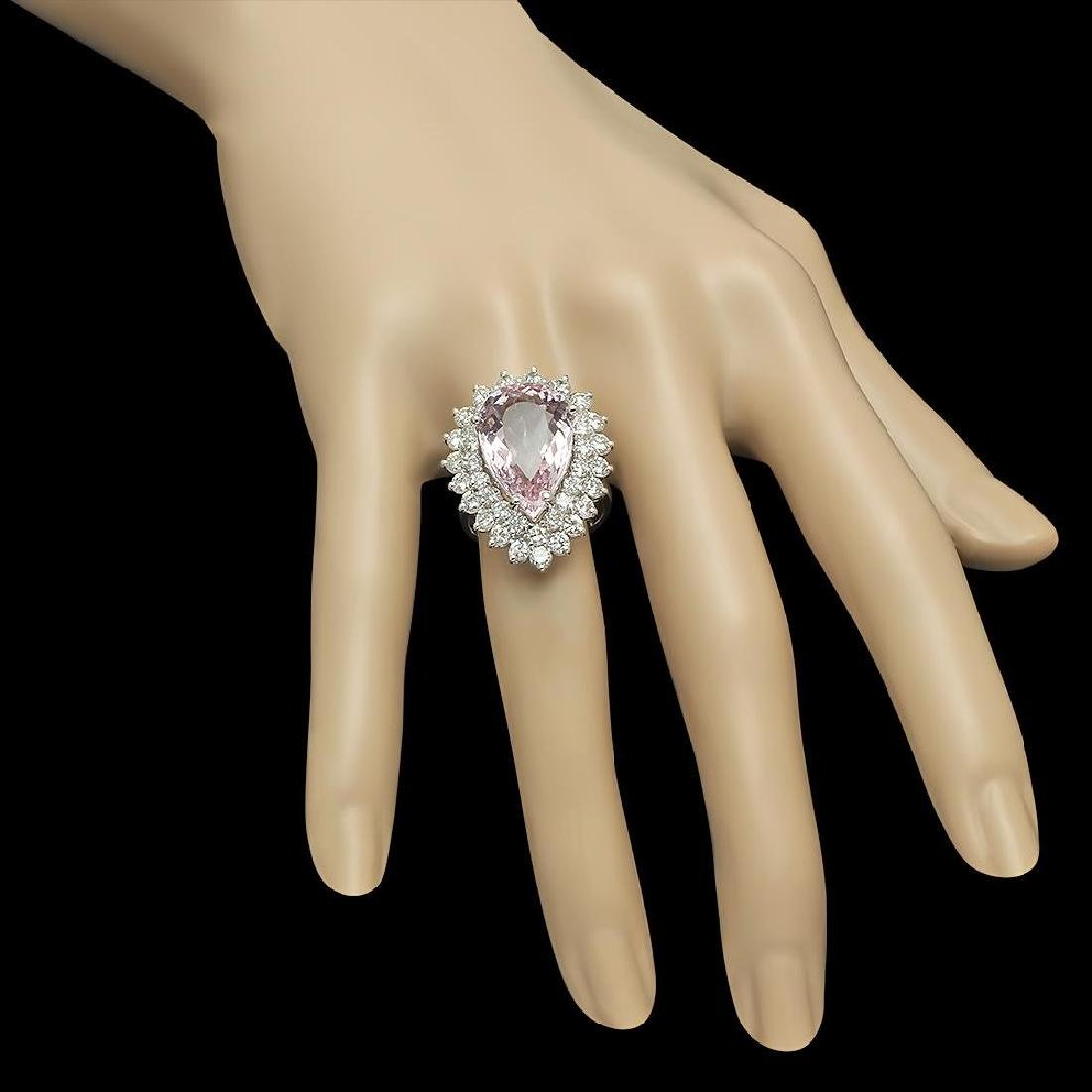 14K Gold 7.52ct Morganite 2.70ct Diamond Ring - 3