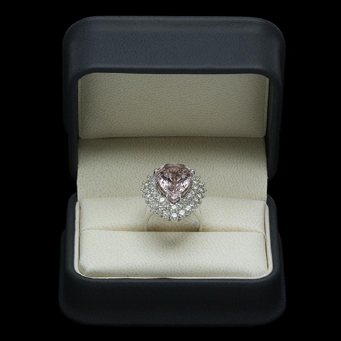 14K Gold 7.52ct Morganite 2.70ct Diamond Ring - 4