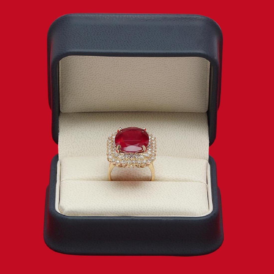 14K Gold 14.12ct Ruby 1.74ct Diamond Ring - 4