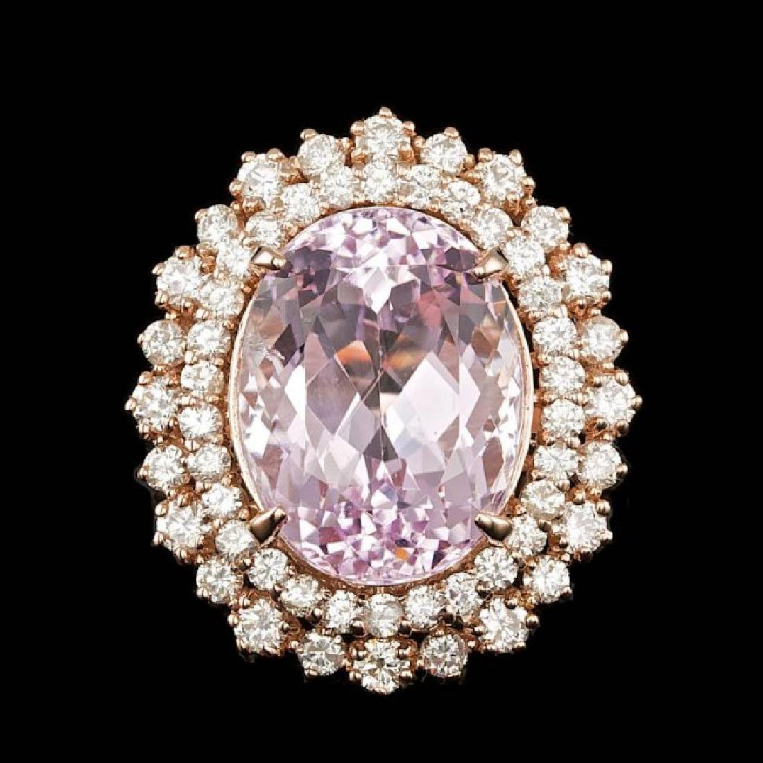 14k Rose Gold 13.50ct Kunzite 1.85ct Diamond Ring