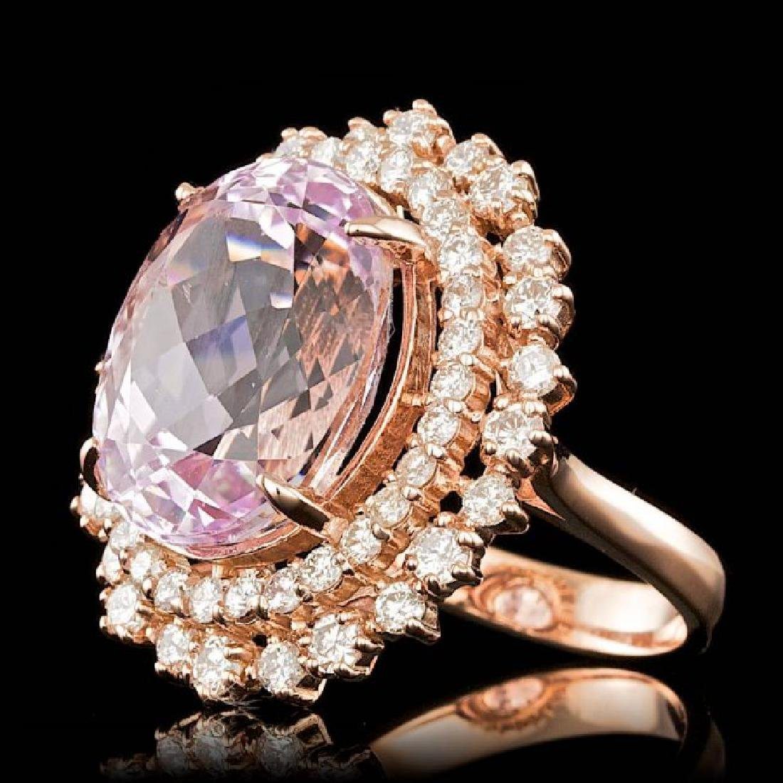 14k Rose Gold 13.50ct Kunzite 1.85ct Diamond Ring - 2