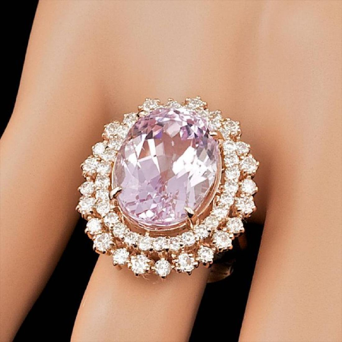 14k Rose Gold 13.50ct Kunzite 1.85ct Diamond Ring - 3
