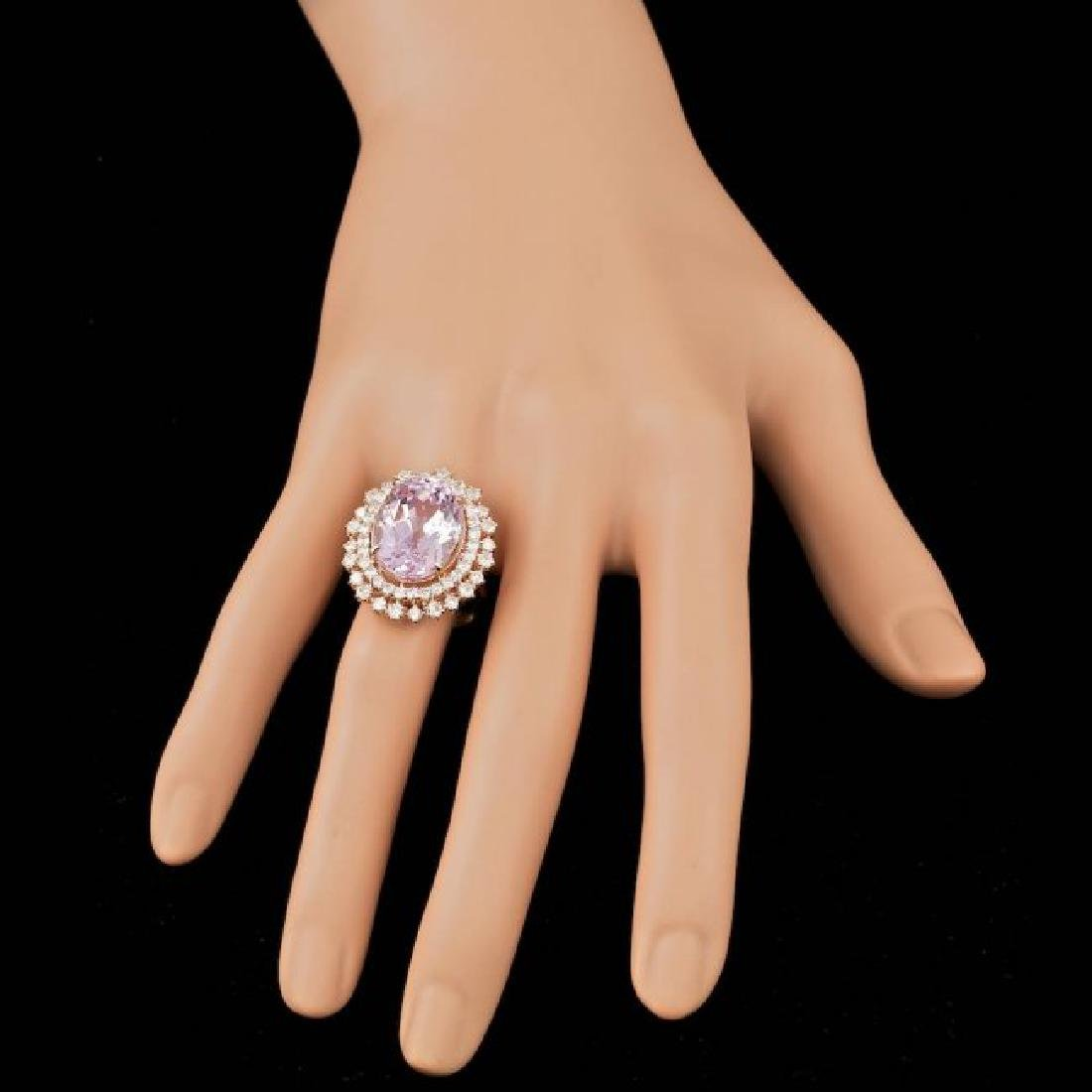 14k Rose Gold 13.50ct Kunzite 1.85ct Diamond Ring - 4