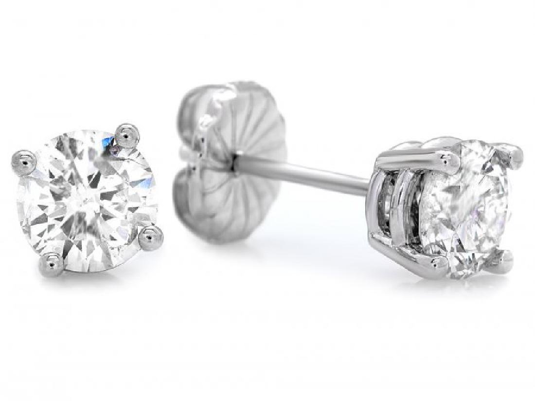 14k White Gold 1.60ct Diamond Earrings - 2