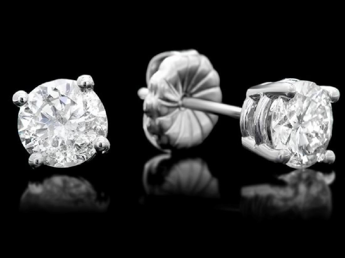 14k White Gold 1.60ct Diamond Earrings - 3
