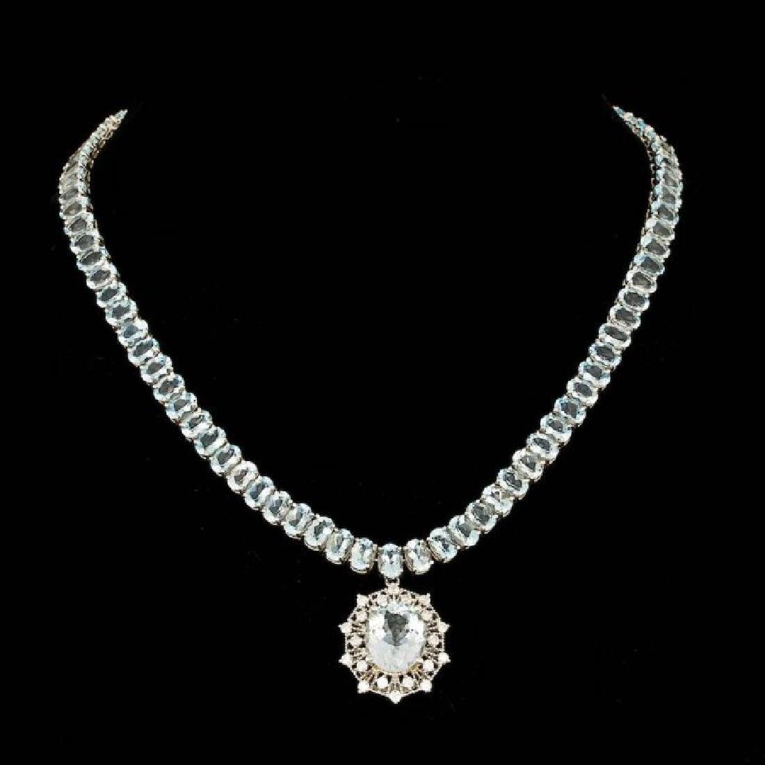 14k Gold 61ct Aquamarine 1.40ct Diamond Necklace - 2