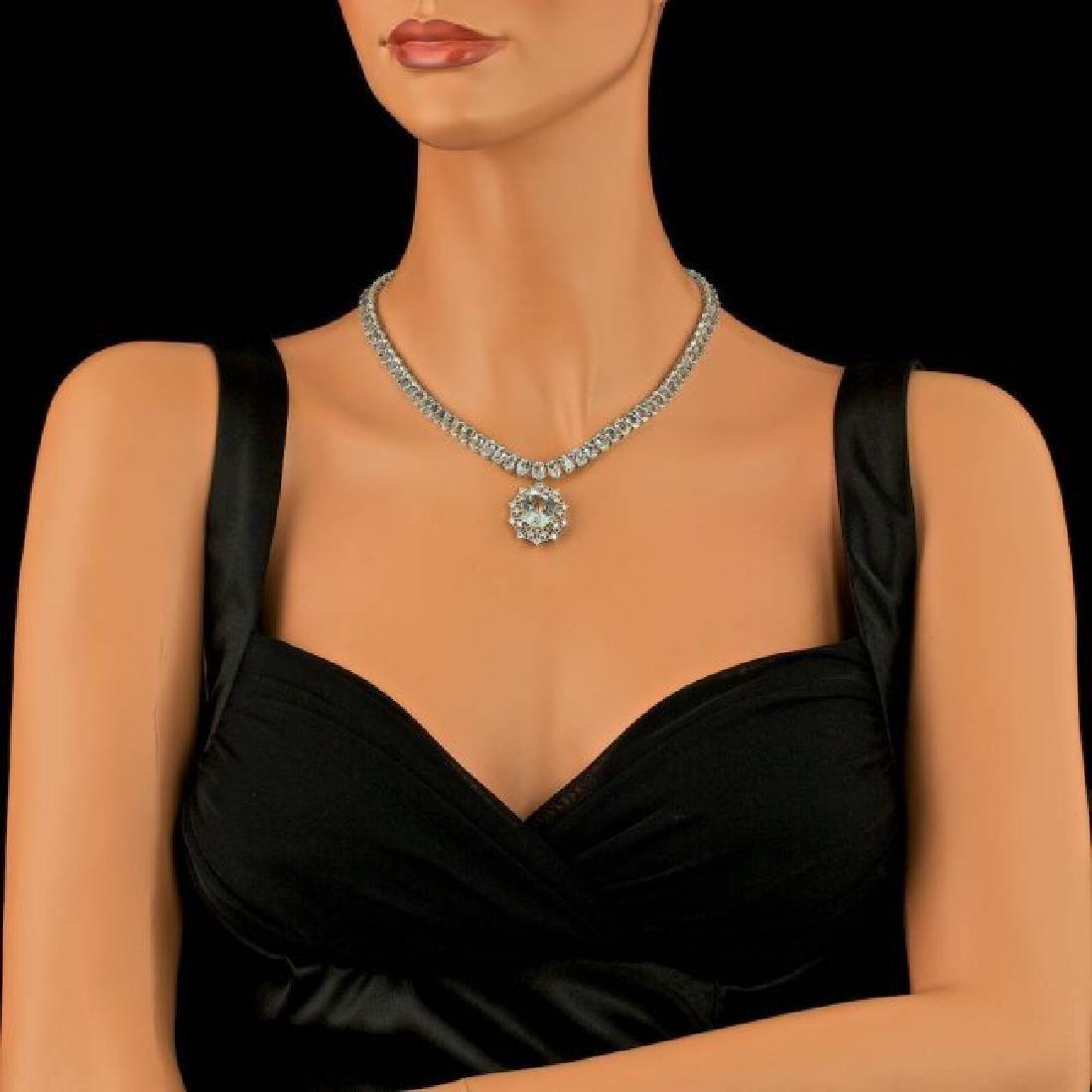 14k Gold 61ct Aquamarine 1.40ct Diamond Necklace - 3
