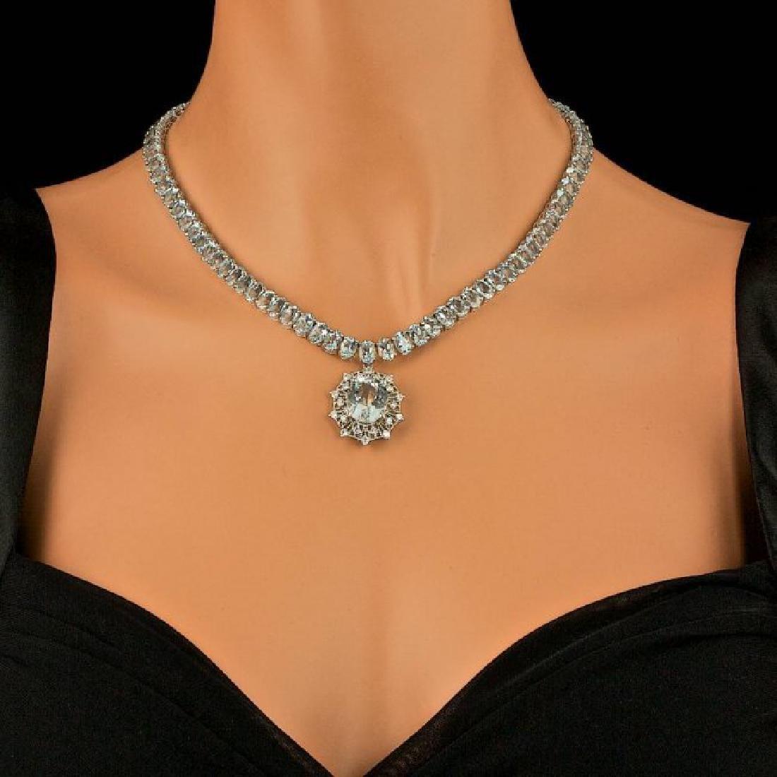14k Gold 61ct Aquamarine 1.40ct Diamond Necklace - 4
