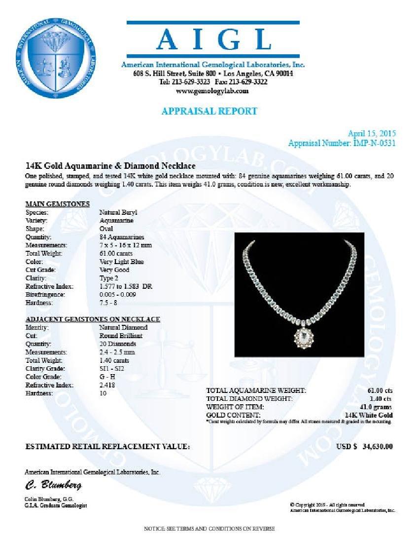 14k Gold 61ct Aquamarine 1.40ct Diamond Necklace - 5