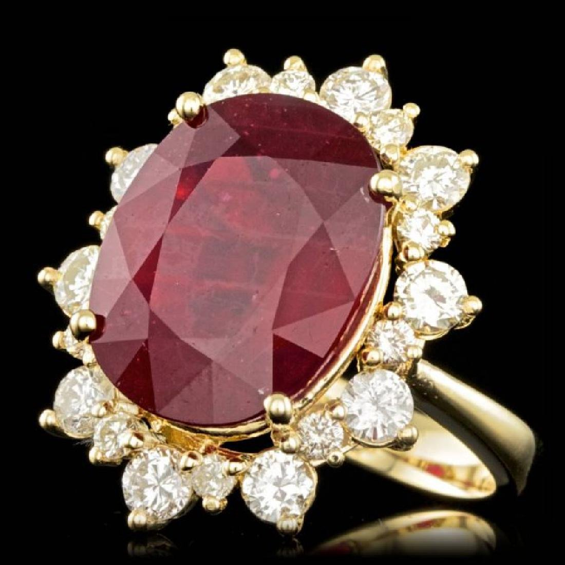 14k Yellow Gold 13.00ct Ruby 1.80ct Diamond Ring - 2