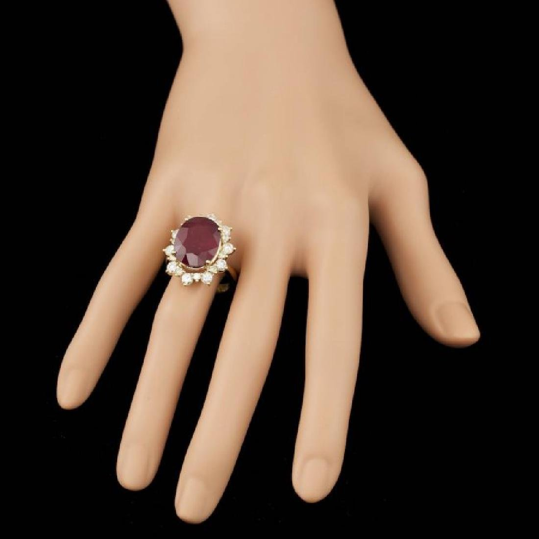 14k Yellow Gold 13.00ct Ruby 1.80ct Diamond Ring - 4